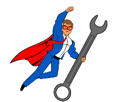 The Blog Fixer mascot holding a wrench